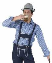Blauw met wit geruit tiroler blouse voor heren kopen