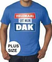 Blauw plussize t-shirt voor heren met tekst helemaal uit mijn dak kopen