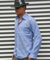 Blauwe oktoberfest blouse voor heren kopen