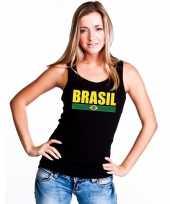 Brazilie supporter mouwloos shirt tanktop zwart dames kopen