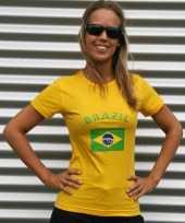 Dames t-shirt met de braziliaanse vlag kopen