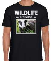 Das foto t-shirt zwart voor heren wildlife of the world cadeau shirt dassen liefhebber kopen
