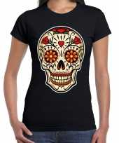 Day of the dead sugar skull rocker t-shirt zwart voor dames kopen