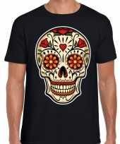 Day of the dead sugar skull rocker t-shirt zwart voor heren kopen