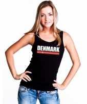 Denemarken supporter mouwloos shirt tanktop zwart dames kopen