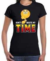 Dont waste my time emoticon fun shirt dames zwart kopen