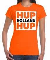 Ek wk supporter t-shirt hup holland hup oranje voor dames kopen