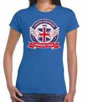 Engeland drinking team t-shirt blauw dames kopen