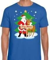 Fout kerstmis shirt blauw met de kerstman en rudolf voor heren kopen