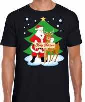Fout kerstmis shirt zwart met de kerstman en rudolf voor heren kopen
