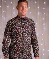 Foute kerst blouse met kerstmannetjes zwart kopen