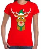 Foute kerst t shirt rood met ruldolf het rendier met groene muts voor dames kopen