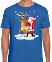 Foute kerstmis shirt blauw met een dronken kerstman en rudolf voor heren kopen