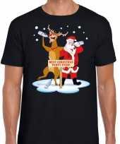 Foute kerstmis shirt zwart met een dronken kerstman en rudolf voor heren kopen