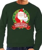 Foute kersttrui groen kerstman met middelvinger merry fucking christmas heren kopen