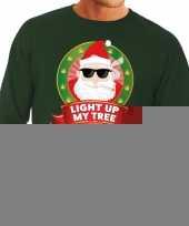 Foute kersttrui groen wiet rokende kerstman light up my tree heren kopen