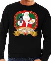 Foute kersttrui zwart kerstman met pistool heren kopen 10125387
