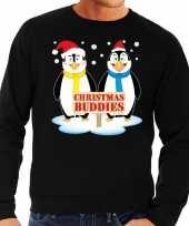 Foute kersttrui zwart met 2 pinguins voor heren kopen