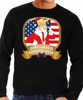 Foute kersttrui zwart met trump christmas is gonne be huge heren kopen