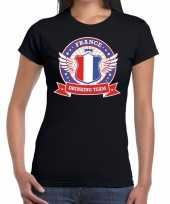 Frankrijk drinking team t-shirt zwart dames kopen