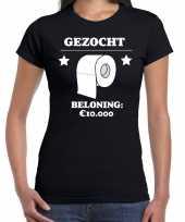 Fun t-shirt gezocht wc papier beloning 10 000 euro zwart voor dames kopen