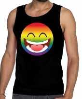 Gay pride emoji tanktop zwart heren kopen