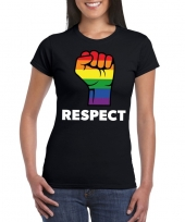 Gay pride respect lgbt-shirt zwart dames kopen