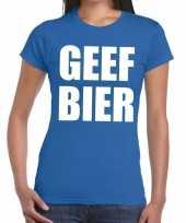 Geef bier fun t-shirt blauw voor dames kopen