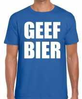 Geef bier fun t-shirt voor heren blauw kopen