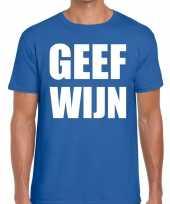 Geef wijn fun t-shirt voor heren blauw kopen