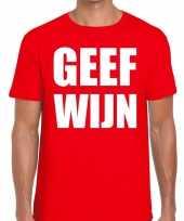 Geef wijn fun t-shirt voor heren rood kopen