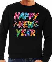 Gekleurde happy new year sweater trui zwart voor heren kopen