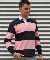 Gekleurde rugbyshirts navy roze kopen