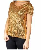 Glitter pailletten stretch shirt goud dames kopen