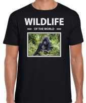 Gorilla aap foto t-shirt zwart voor heren wildlife of the world cadeau shirt gorillas liefhebber kopen