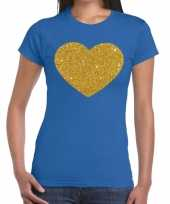 Gouden hart fun t-shirt blauw voor dames kopen