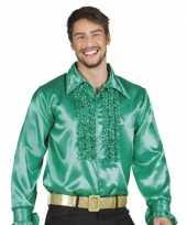 Groene rouche overhemd voor heren kopen