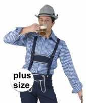 Grote maat blauw met wit geruit tiroler blouse voor heren kopen