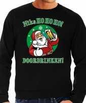Grote maat foute kerstborrel trui kersttrui ho ho ho doordrinken met biertje zwart voor heren kopen