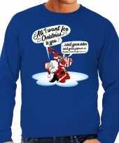 Grote maat foute kerstborrel trui kersttrui met zingende kerstman en gitaar all i want for christmas is you blauw voor heren kopen