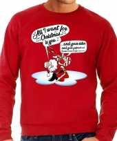 Grote maat foute kerstborrel trui kersttrui met zingende kerstman en gitaar all i want for christmas is you rood voor heren kopen