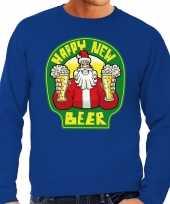 Grote maat foute oud en nieuw trui kersttrui happy new beer bier blauw voor heren kopen