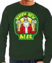 Grote maat foute oud en nieuw trui kersttrui happy new beer bier groen voor heren kopen