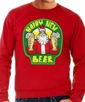 Grote maat foute oud en nieuw trui kersttrui happy new beer bier rood voor heren kopen