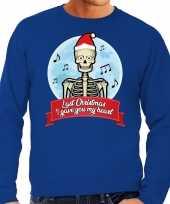 Grote maten foute kerstborrel trui kersttrui last christmas i gave you my heart skelet blauw voor heren kopen