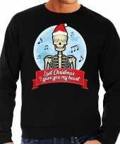 Grote maten foute kerstborrel trui kersttrui last christmas i gave you my heart skelet zwart voor heren kopen