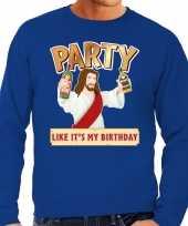 Grote maten foute kerstborrel trui kersttrui party jezus blauw voor heren kopen