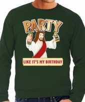 Grote maten foute kerstborrel trui kersttrui party jezus groen voor heren kopen