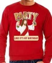 Grote maten foute kerstborrel trui kersttrui party jezus rood voor heren kopen