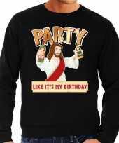 Grote maten foute kerstborrel trui kersttrui party jezus zwart voor heren kopen